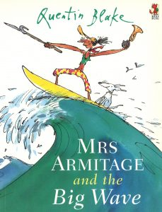 Mrs Armitage and the Big Wave, Jane Seashore No4 shares her favourite kids book for summer at the beach with Happy Nest Nanny Agency